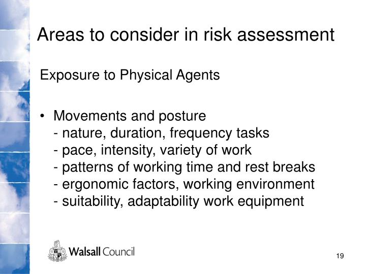 Areas to consider in risk assessment