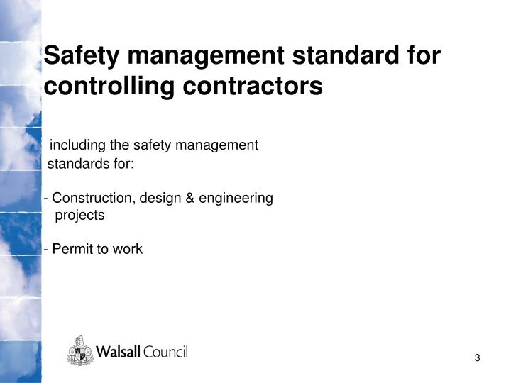 Safety management standard for controlling contractors