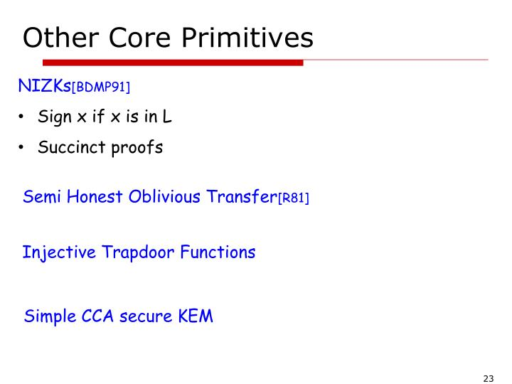 Other Core Primitives