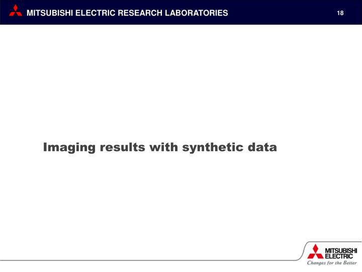 Imaging results with synthetic data