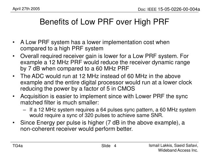 Benefits of Low PRF over High PRF