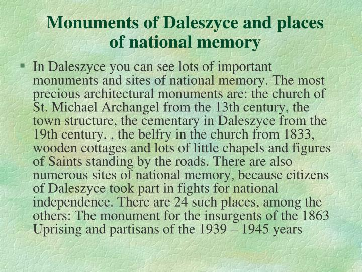 Monuments of Daleszyce and places of national memory
