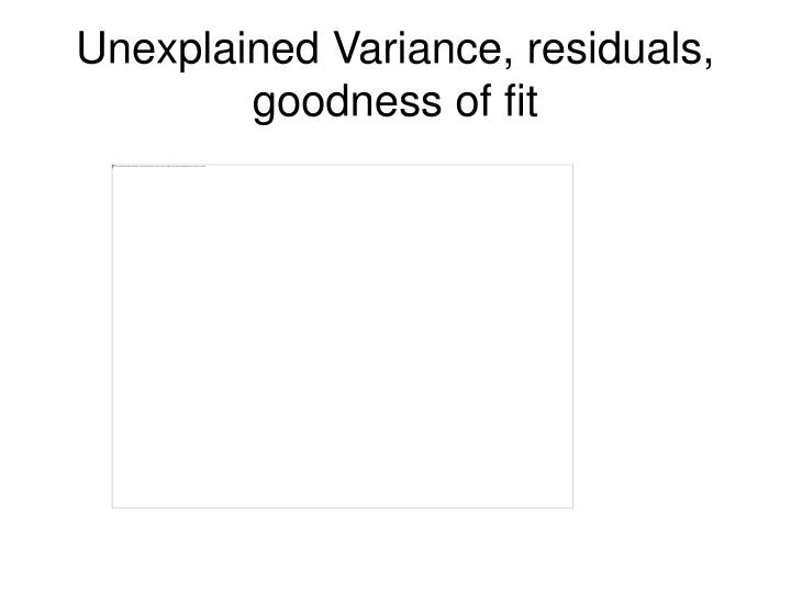 Unexplained Variance, residuals, goodness of fit