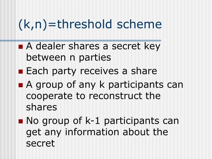 (k,n)=threshold scheme