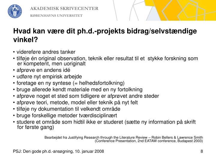 Hvad kan være dit ph.d.-projekts bidrag/selvstændige vinkel?
