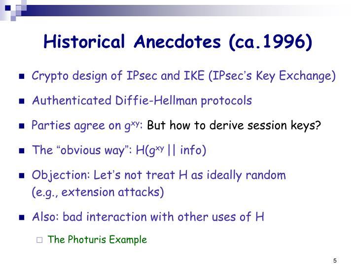 Historical Anecdotes (ca.1996)