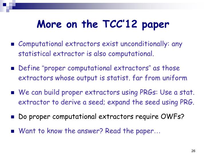 More on the TCC'12 paper