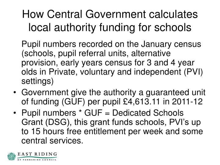 How Central Government calculates local authority funding for schools