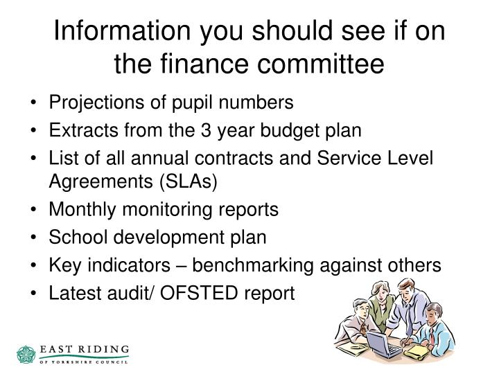 Information you should see if on the finance committee