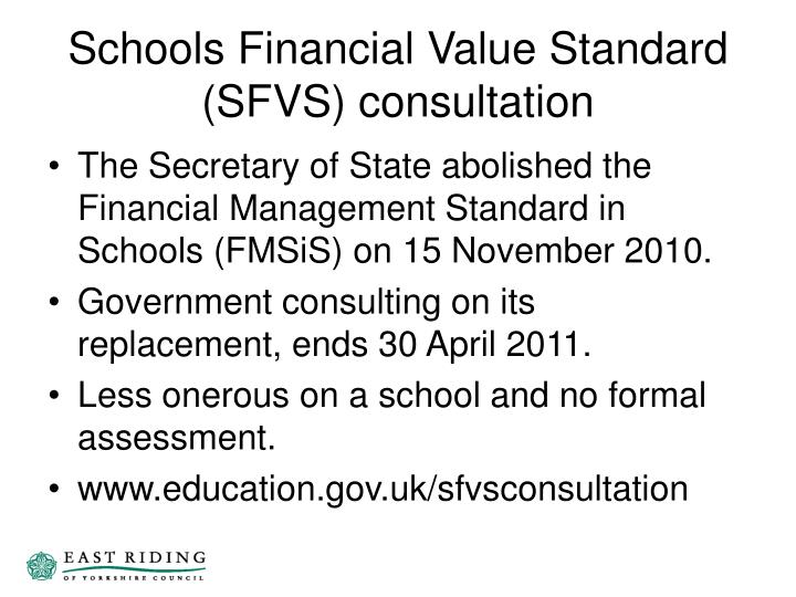 Schools Financial Value Standard (SFVS) consultation