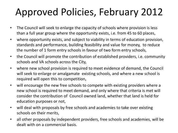 Approved Policies, February 2012