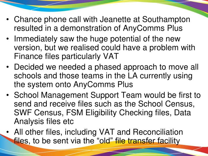 Chance phone call with Jeanette at Southampton resulted in a demonstration of AnyComms Plus