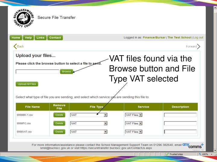 VAT files found via the Browse button and File Type VAT selected