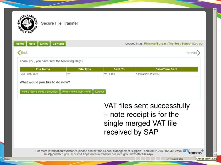 VAT files sent successfully – note receipt is for the single merged VAT file received by SAP