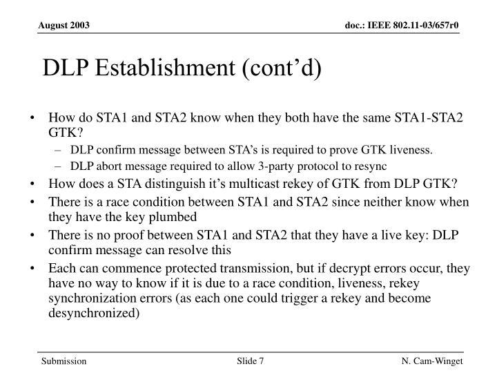 DLP Establishment (cont'd)