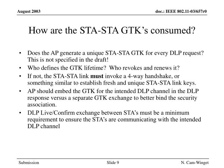 How are the STA-STA GTK's consumed?