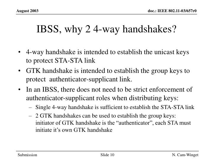 IBSS, why 2 4-way handshakes?