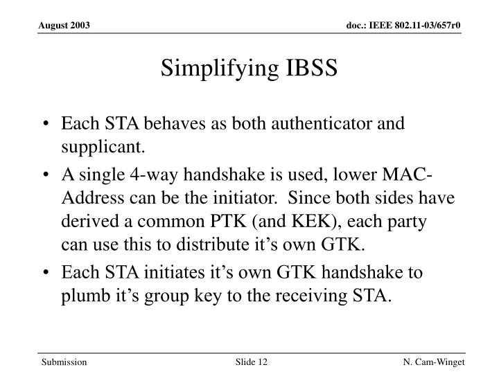 Simplifying IBSS
