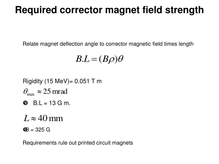 Required corrector magnet field strength