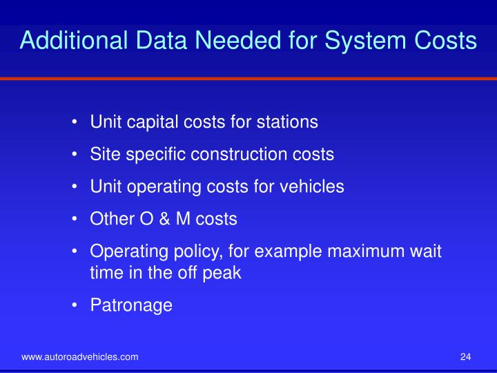 Additional Data Needed for System Costs