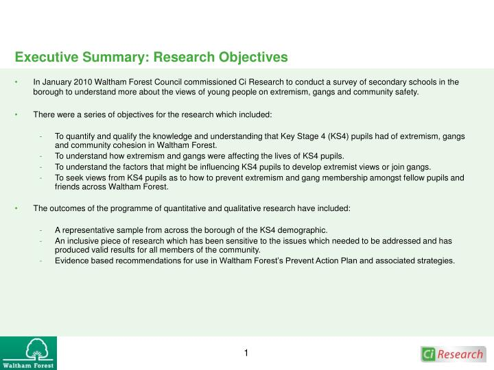 Executive summary research objectives