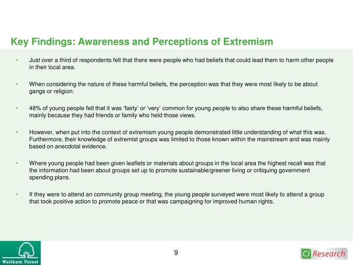 Key Findings: Awareness and Perceptions of Extremism