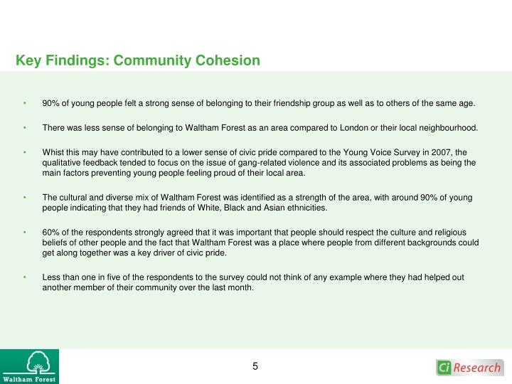 Key Findings: Community Cohesion