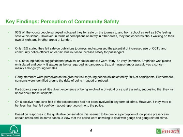 Key Findings: Perception of Community Safety