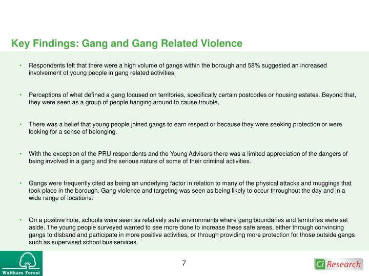 Key Findings: Gang and Gang Related Violence