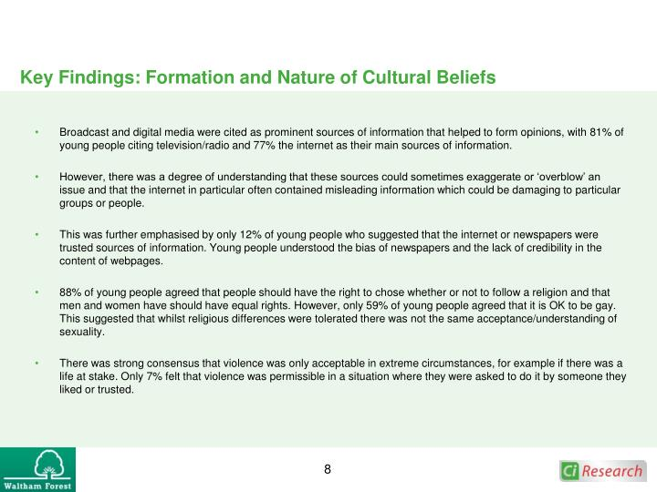 Key Findings: Formation and Nature of Cultural Beliefs