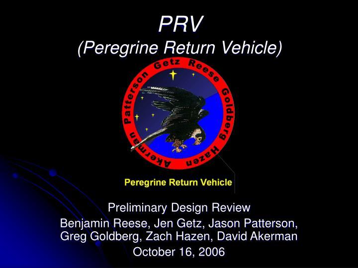 prv peregrine return vehicle