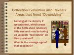 collection evaluation also reveals areas that need downsizing