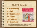 mustie criteria