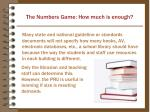 the numbers game how much is enough