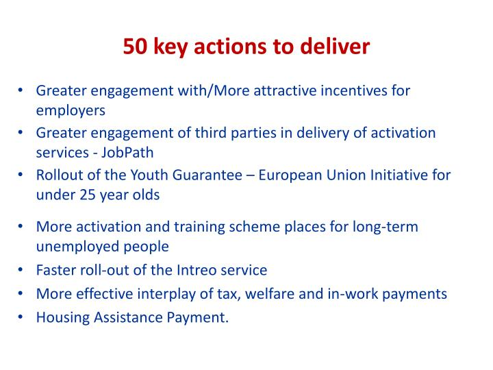 50 key actions to deliver