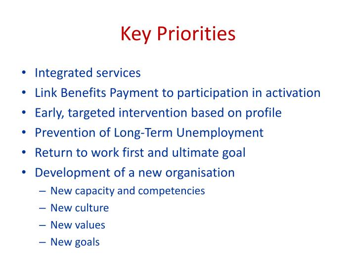 Key Priorities