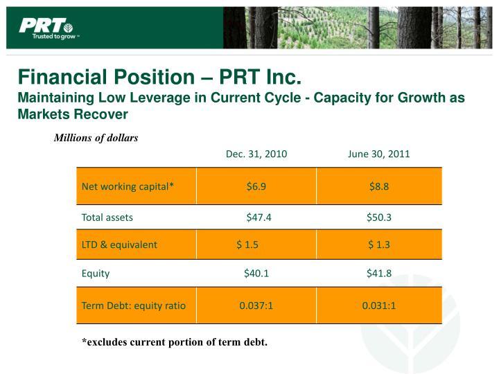 Financial Position – PRT Inc.