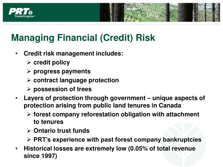 Managing Financial (Credit) Risk