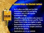 scholarships for sinclair tuition