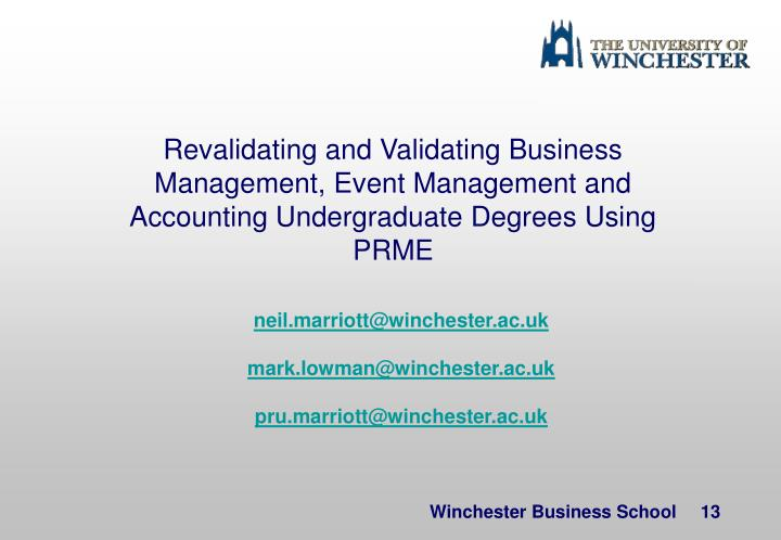 Revalidating and Validating Business Management, Event Management and Accounting Undergraduate Degrees Using PRME