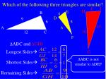 which of the following three triangles are similar1