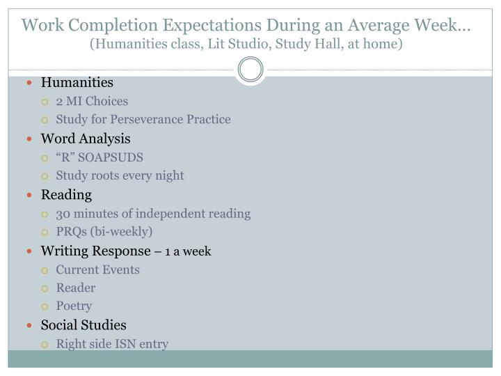 Work Completion Expectations During an Average