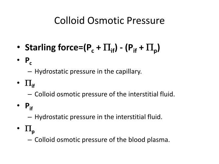 Colloid Osmotic Pressure