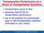 transportation performance as a driver of transportation solutions