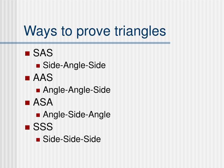 Ways to prove triangles