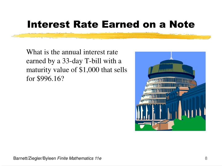 What is the annual interest rate earned by a 33-day T-bill with a maturity value of $1,000 that sells for $996.16?