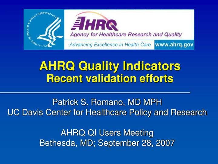 ahrq quality indicators recent validation efforts n.