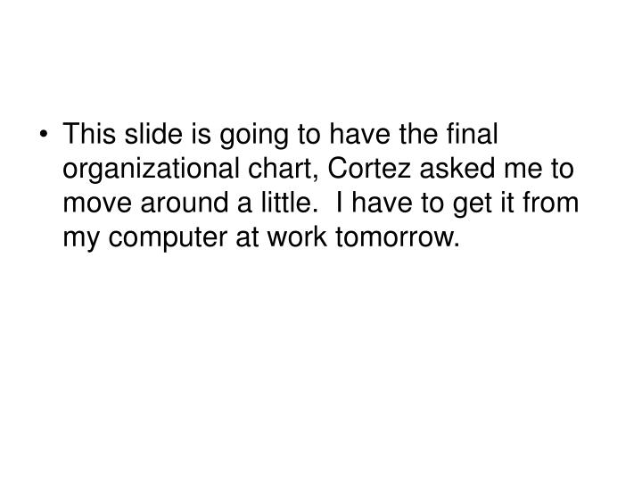 This slide is going to have the final organizational chart, Cortez asked me to move around a little.  I have to get it from my computer at work tomorrow.