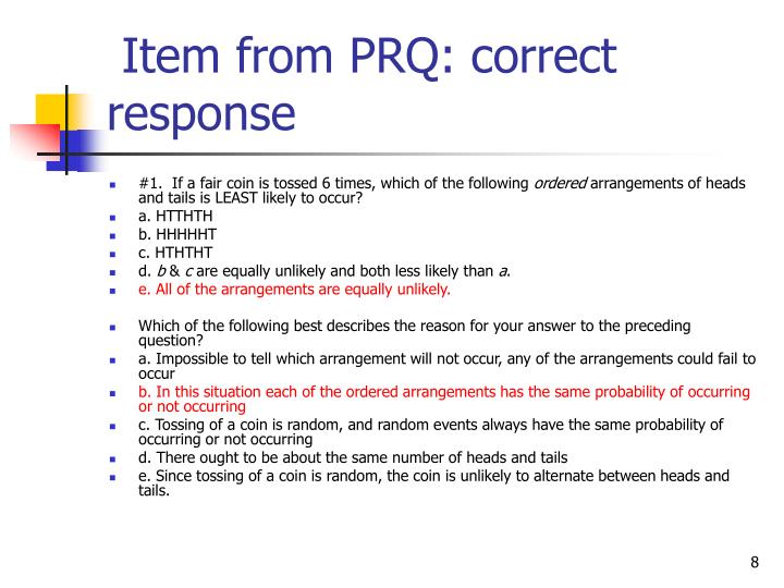 Item from PRQ: correct response