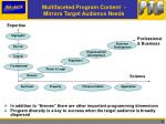 multifaceted program content mirrors target audience needs